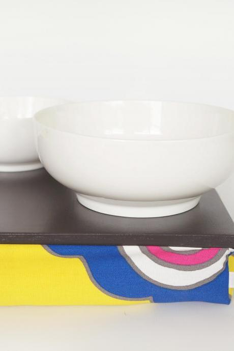 Pillow tray, Stable table, iPad stand or wooden Breakfast in Bed serving Tray - Graphite grey with Yellow printed Pillow