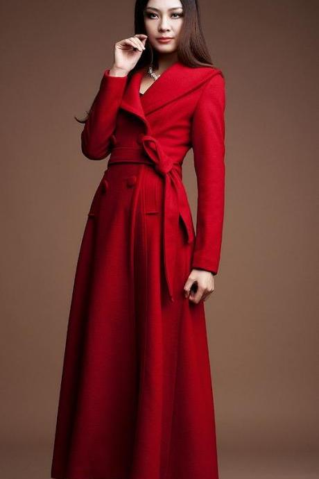 Red Long Coats-Red Winter Wool Coats-Women Red Long Thick Overcoats