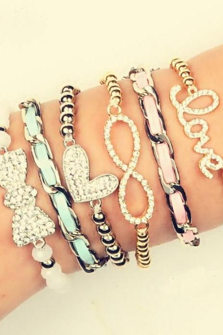 Artilady infinite love bracelets antique charm leather stacking crystal bracelet women jewelry