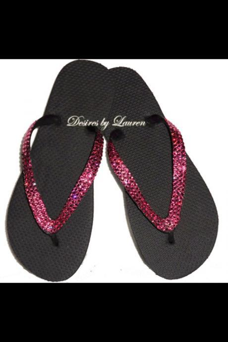 Embellished with Swarovski crystals 'Rose' flip flops