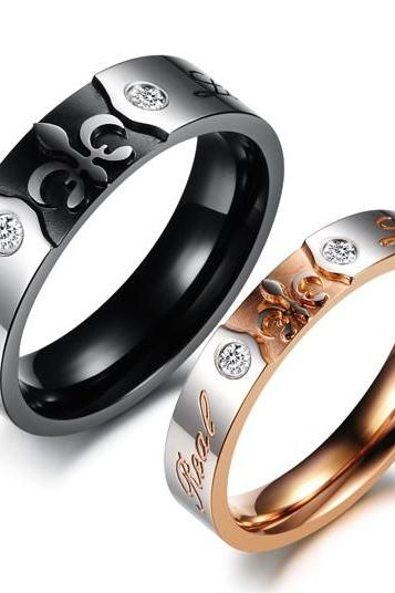 Him & Her Gothic Style Matching Couple Ring Set - Promise Ring (avail sizes 5 thru 11)