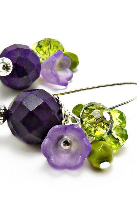Sugalite and Czech Glass Earrings on Sterling- Purple Earrings- Purple Jewelry-green Earrings-Green Jewelry-Flower Earrings-Flower Jewelry- Floral - Summer Earrings- Summer Jewelry