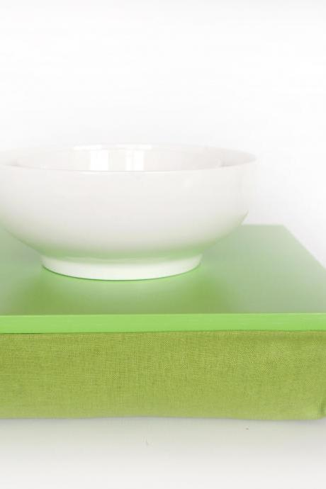 Stable table, iPad stand or wooden Breakfast in Bed serving Tray - Bright green with spring green linen Pillow