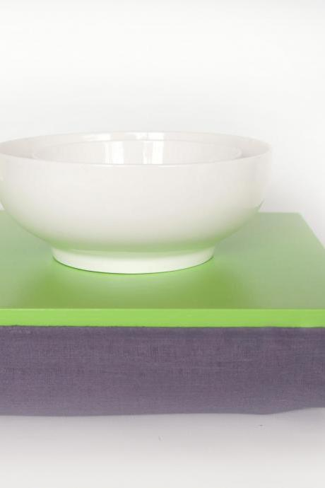 Bed tray, iPad stable table or Laptop Lap Desk without edges - Bright green with blue shade grey linen pillow