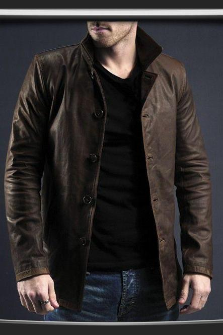 Mens brown leather jacket, Men's coat, real leather coat