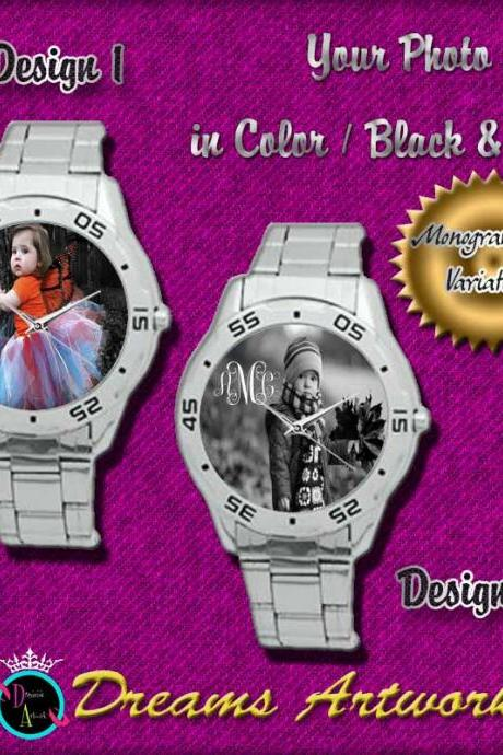 PERSONALIZED Photo Monograms CUSTOM Stainless Steel Watch GIFT