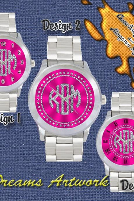 Personalized METALLIC RHINESTONE Monogram Custom Metal Watch UNISEX GIFT