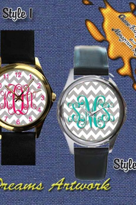PERSONALIZED Custom Chevron Monograms Unisex Round Metal Leather Watch UNISEX GIFT
