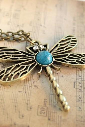 vintage full diamond necklace long dragonfly chain