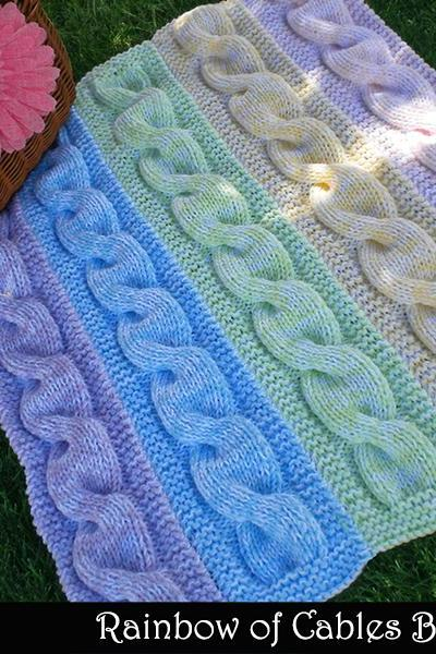 Rainbow of Cables Baby Blanket Knitting Pattern