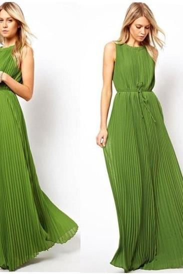 Pleated Citrus Lime Green Maxi Dress (available in 4 sizes)