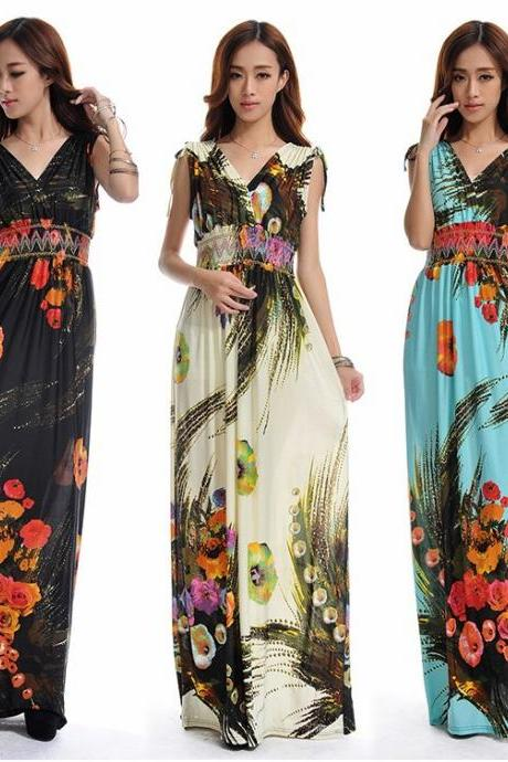 Sexy Oriental Floral V-Neck Maxi Dress (available in 3 colors and 6 sizes)
