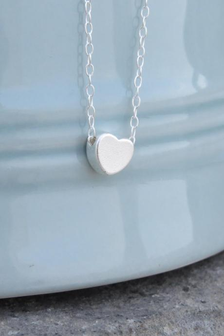 Silver necklace - Tiny heart necklace, Simple small heart necklace, Little silver heart, Silver jewelry