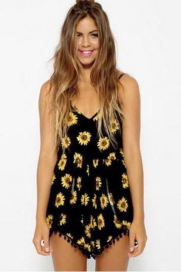 Black V-Neckline Sunflower Print Cami Romper with Pom Pom Trim