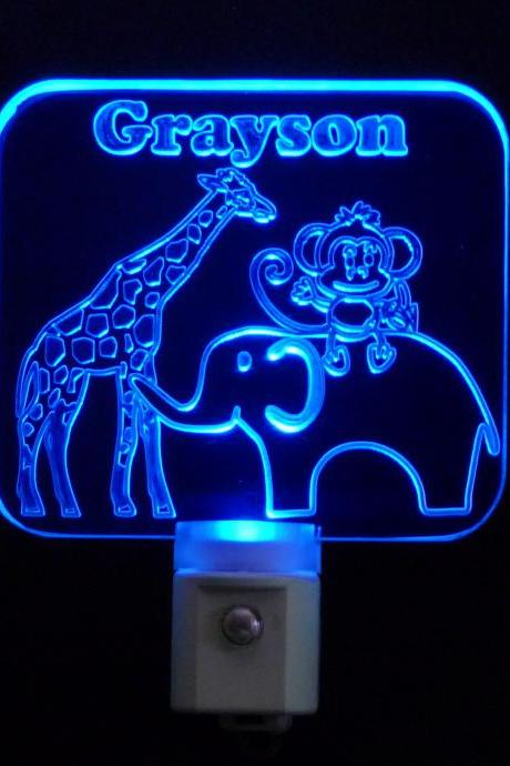 FREE Shipping to US-Kids Personalized LED Zoo Animal, Monkey, Elephant, and Giraffe, Night Light, Customize with name