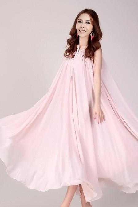 Nude Pink Long Evening Wedding Party Dress Lightweight Sundress Plus Size Summer Dress Holiday Beach Dress Bridesmaid dress Long Prom Dress