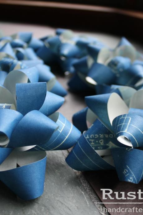 Blueprint Bows upcycled gift wrap set - Engineer, Architect, Designer, Decorator Gift - Blue - Recycled