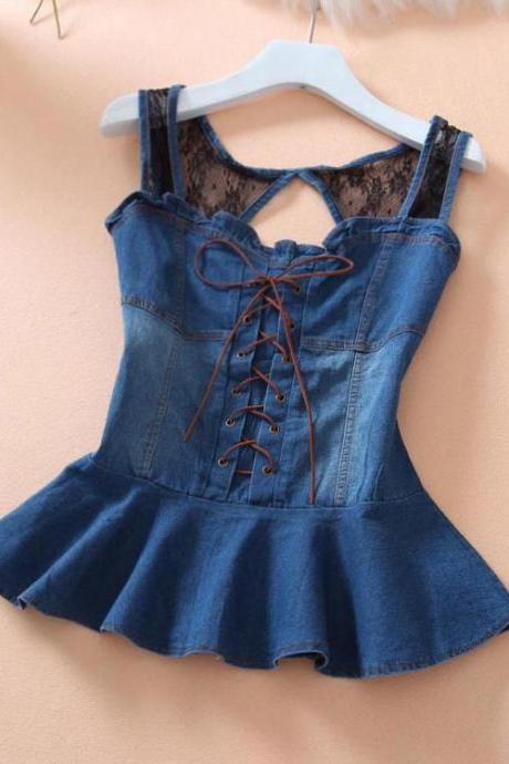 Sexy lace suspenders vintage denim vest J707HA