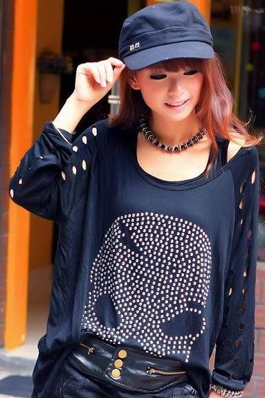 Diamond Press Skull Pattern Front T-Shirt Black