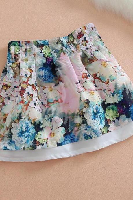 Layered Floral Print Pleated Skirt