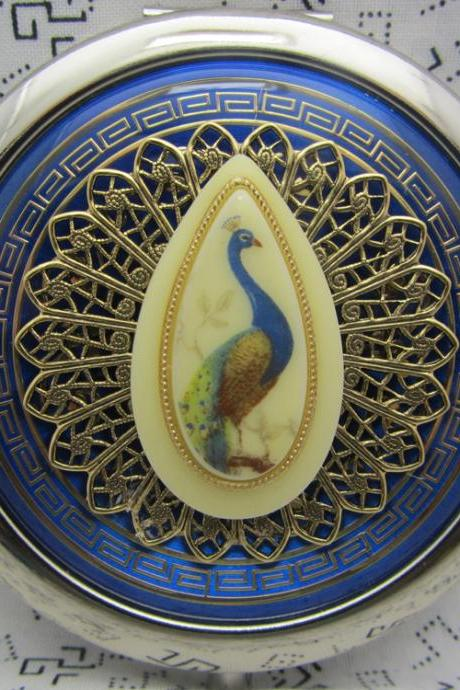 Compact Mirror Peacock On Blue Bridesmaid Gift