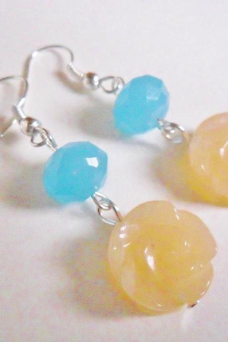 Carved Rose Citrine and Sky Blue Crystal Drop Earrings - Spring Flowers