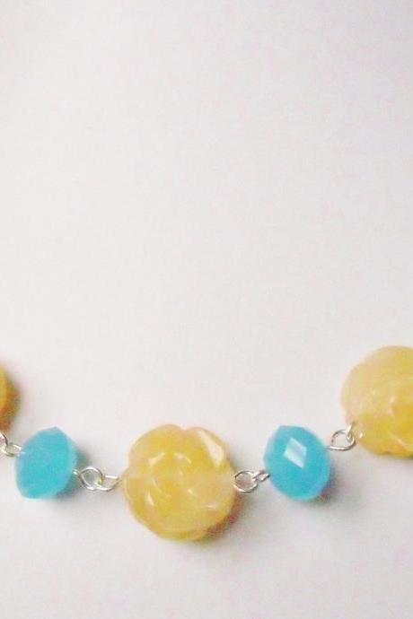 Carved Rose Citrine and Sky Blue Crystal Necklace