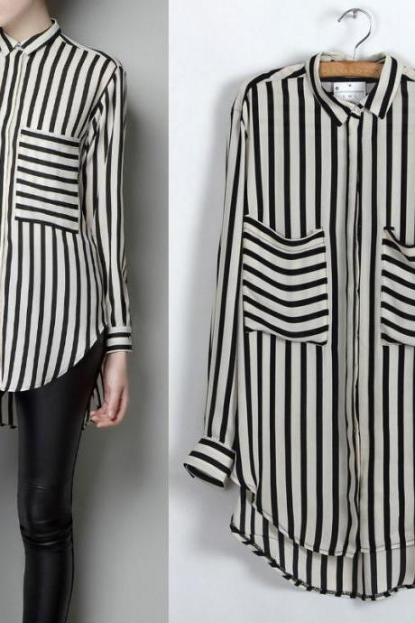 Black White Vertical Stripe Long Sleeve Shirt Chiffon Blouse (SL114)