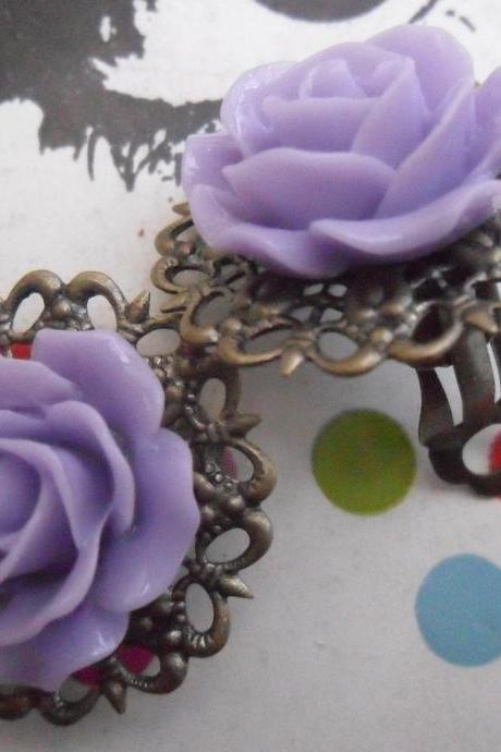 CLIP ON Lilac Filigree Lace Vintage Resin Rose Earrings Flower clip-ons ear clips non pierced