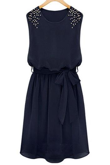 Fashion O Neck Tank Sleeveless Waist Ankle Length Chiffon Dress - Black