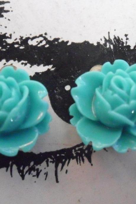 CLIP ON Teal Green Vintage Resin Peony Earrings FLOWER clip-ons non-pierced sea marine