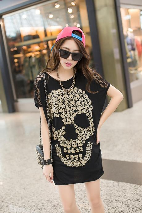 Skull lace top T Shirt