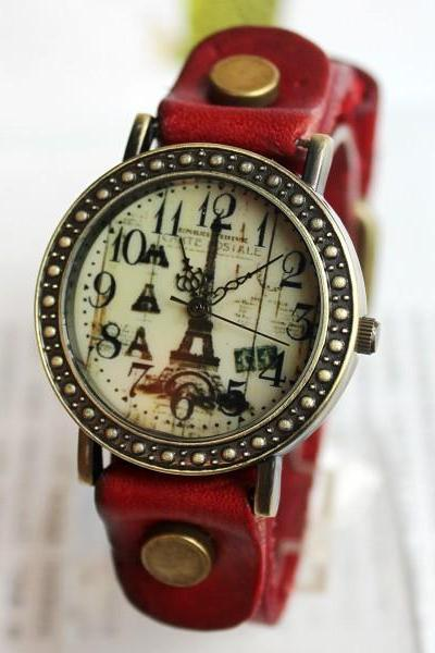 Fashion Romantic Eiffel Tower Retro Watch-Red