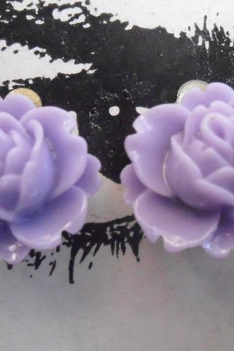 CLIP ON Lilac Purple Vintage Resin Peony Earrings FLOWER clip-ons non-pierced