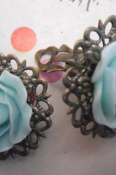 CLIP ON Aqua Blue Filigree Lace Vintage Resin Rose Earrings Flower clip-ons ear clips