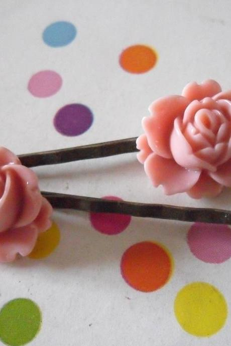 A Pair of Old Pink Vintage Peony Antique Bronze Bobby Pins - hair clips slides pins flower