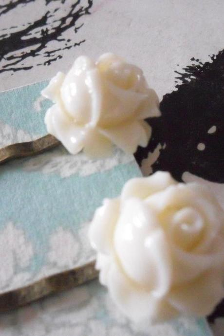 A Pair of Ivory White Vintage Rosebud Bronze Bobby Pins - hair clips slides pins flower