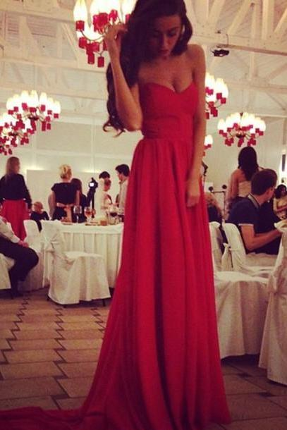 Gorgeous Sweetheart Sweep Train Chiffon Prom Dresses, Red Evening Dresses, Red Prom Dresses, Red Party Dresses