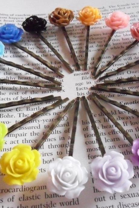 18 Colours 1 of Each Vintage Rose Bronze Bobby Pin Set - hair clips slides pins flower