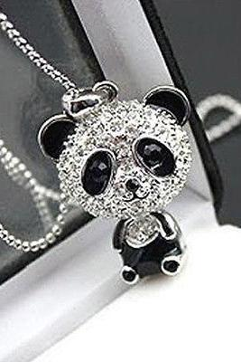 Fashion Womens Girls Pretty Enamel Rhinestone Panda Pendant Long Chain Necklace