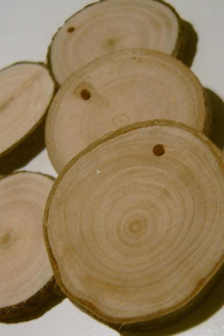50 Assorted Blank Tree Branch Slices 1.5 to 2 inch Sycamore and Cherry