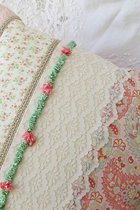 Shabby Cottage Style Pillow Cover Ribbon Embroidery Vintage Lace 14 x 14