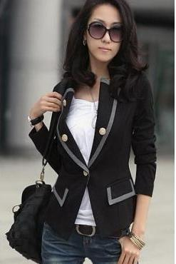 New Style Korean Blend Black Cotton Blazer