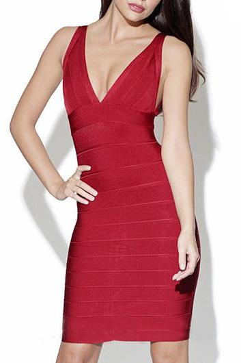 Sexy V Neck Open Back Bandage Dress - Red