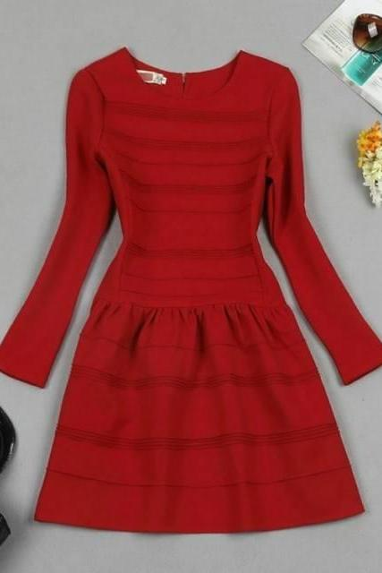 Slim stitching red dress SA710EH