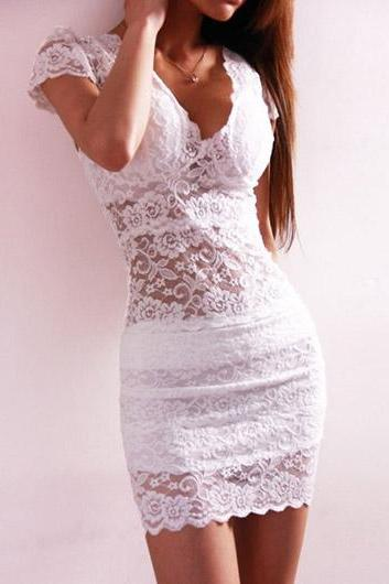 Charming V Neck Lace Dress for Lady - White