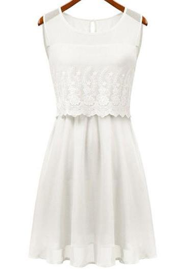 Chic Lace Patchwork Skater Dress for Lady - White