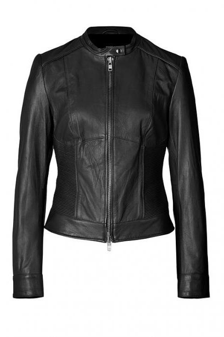 WOMENS LEATHER JACKET, WOMEN MOTO LEATHER JACKETS, BLACK COLOR LEATHER JACKET