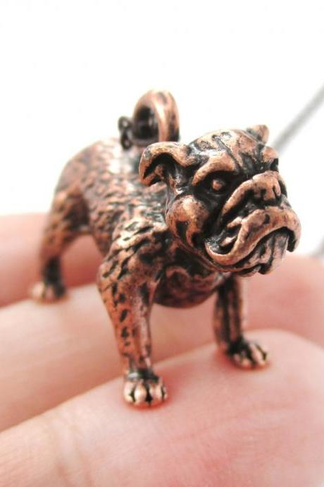 3D Detailed Bulldog Animal Charm Dog Lover Themed Necklace in Copper
