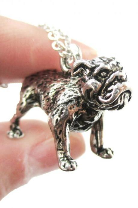 3D Detailed Bulldog Animal Charm Dog Lover Themed Necklace in Shiny Silver